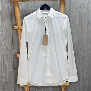 Hold Burberry Men's Uniform White Dress Shirt Nwt